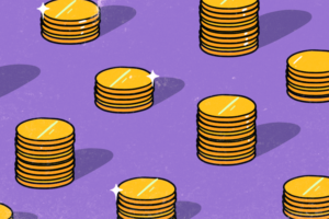 Illustration of piles of gold coins to represent money