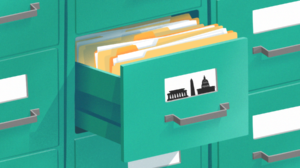 An illustration of a file cabinet and federal government buildings
