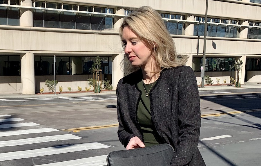 Theranos founder and former CEO Elizabeth Holmes departs the San Jose federal courthouse on February 10, 2020